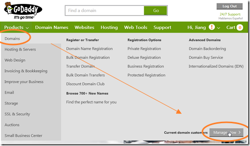 如何修改Godaddy.com域名的DNS