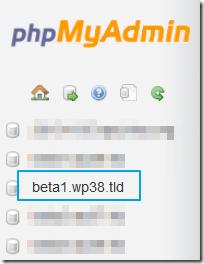 phpMyAdmin中选择数据库